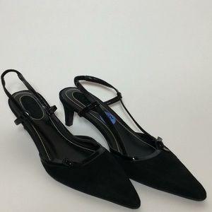 Ralph Lauren Black Velvet Kitty Heel Slingbacks